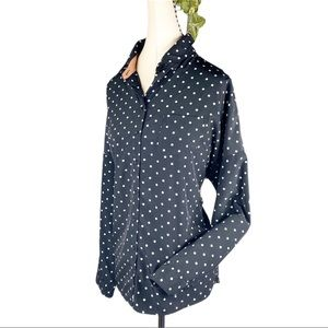 Forever 21 Black Polkadot Button Up Front Shirt
